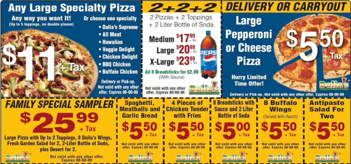Dalia's Pizza Deals